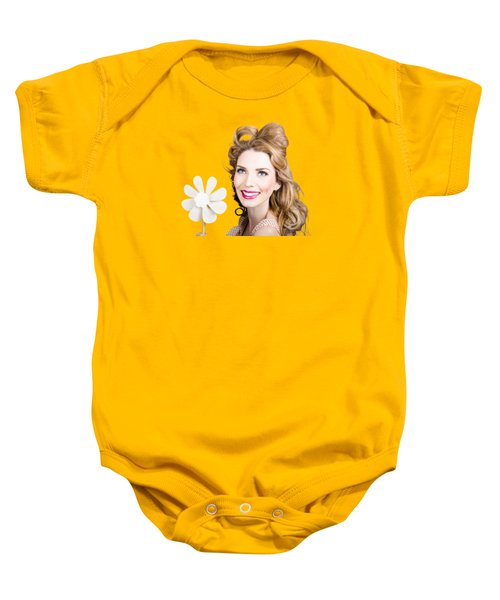 Light Brunette Pin-up Girl With Toy Wind Turbine Baby Onesie
