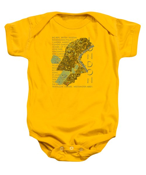 London Classic Map Baby Onesie by Jasone Ayerbe- Javier R Recco