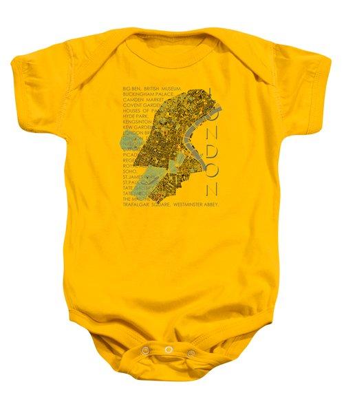London Classic Map Baby Onesie