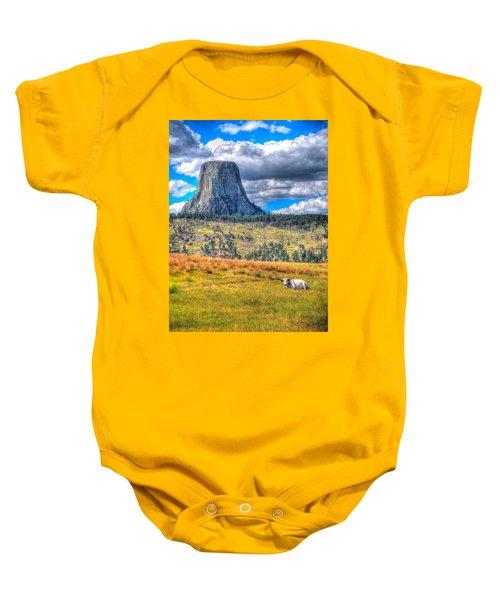 Longhorn At Devils Tower Baby Onesie