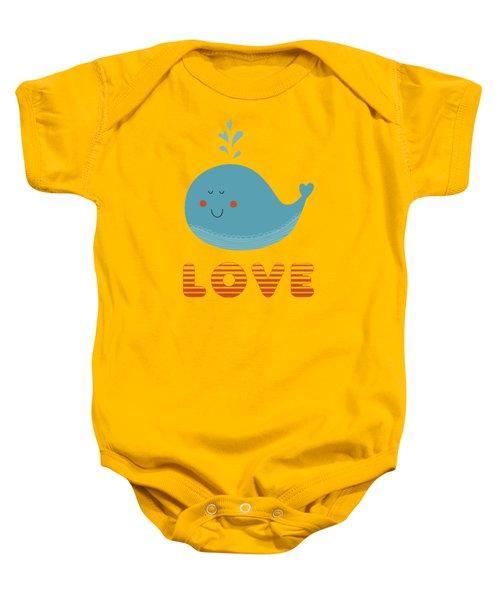 Love Whale Cute Animals Baby Onesie by Edward Fielding
