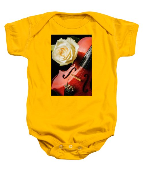 Lovely White Rose And Violin Baby Onesie