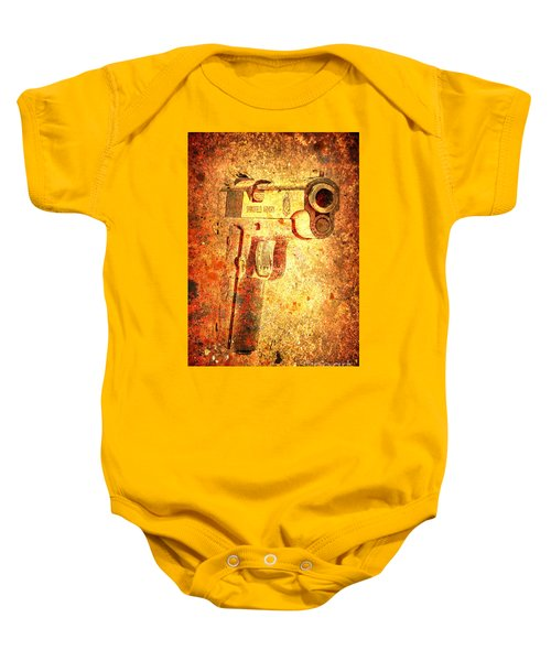 M1911 Muzzle On Rusted Background 3/4 View Baby Onesie