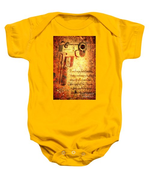 M1911 Pistol And Second Amendment On Rusted Overlay Baby Onesie
