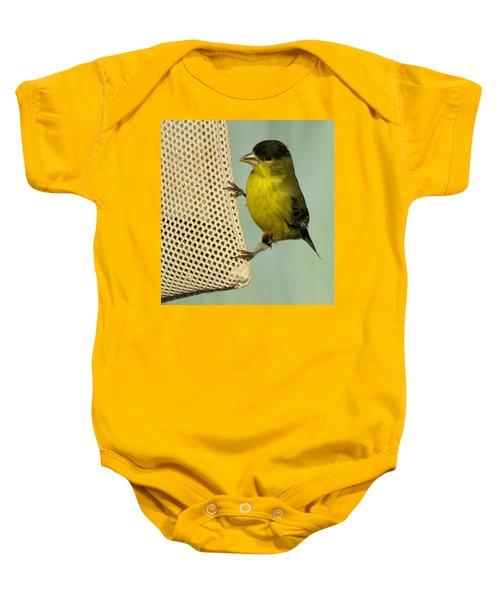 Male Goldfinch On Sock Feeder Baby Onesie