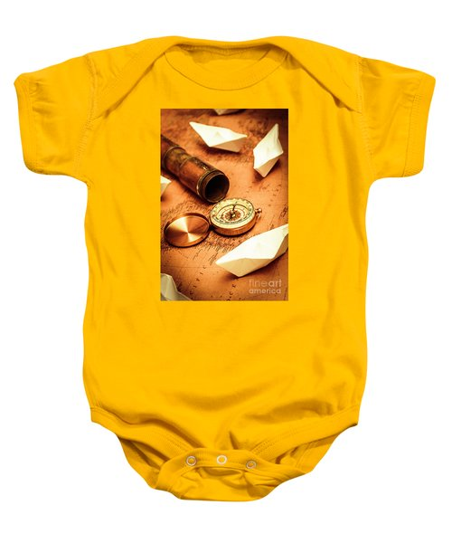 Maps And Bearings Baby Onesie