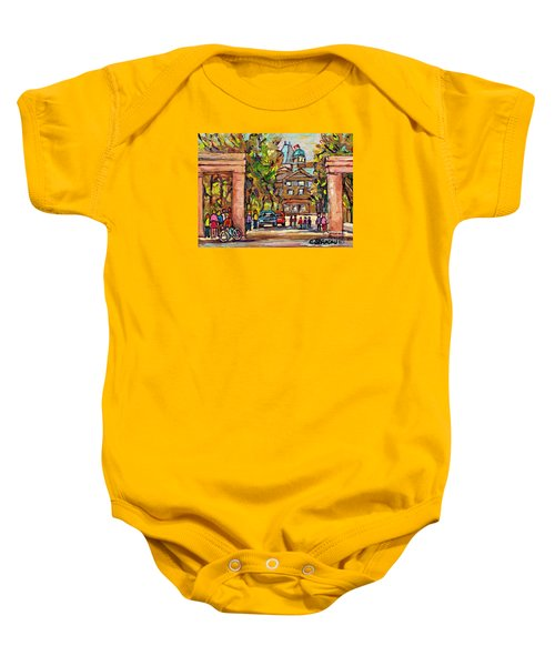 Mcgill Gates  Entrance Of Mcgill University Montreal Quebec Original Oil Painting Carole Spandau Baby Onesie