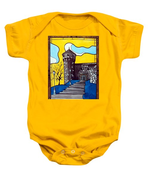Baby Onesie featuring the painting Medieval Bastion -  Mace Tower Of Buda Castle Hungary By Dora Hathazi Mendes by Dora Hathazi Mendes