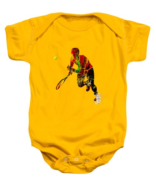 Mens Tennis Collection Baby Onesie by Marvin Blaine