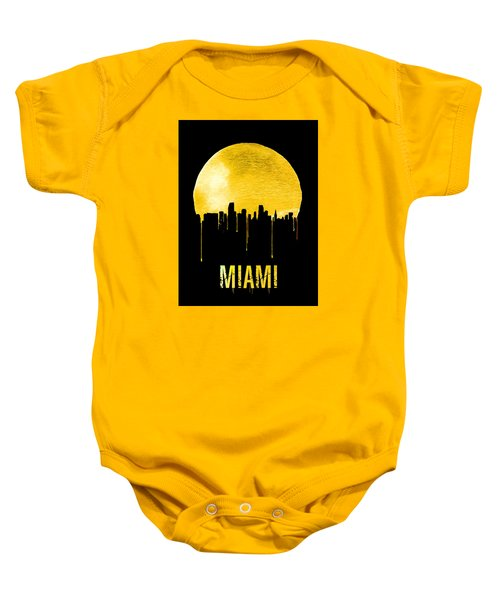 Miami Skyline Yellow Baby Onesie by Naxart Studio