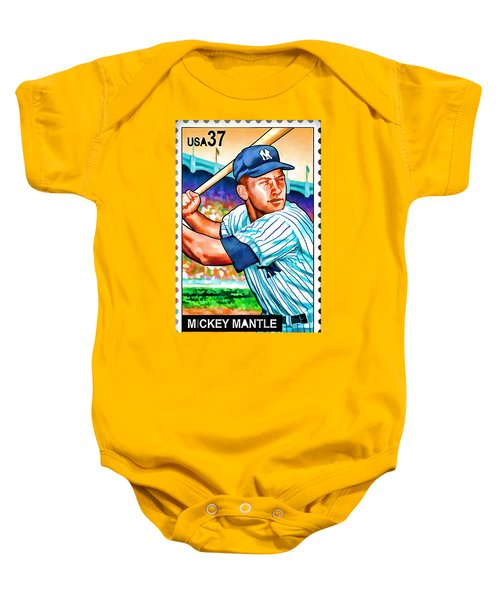 Mickey Mantle Baby Onesie by Lanjee Chee