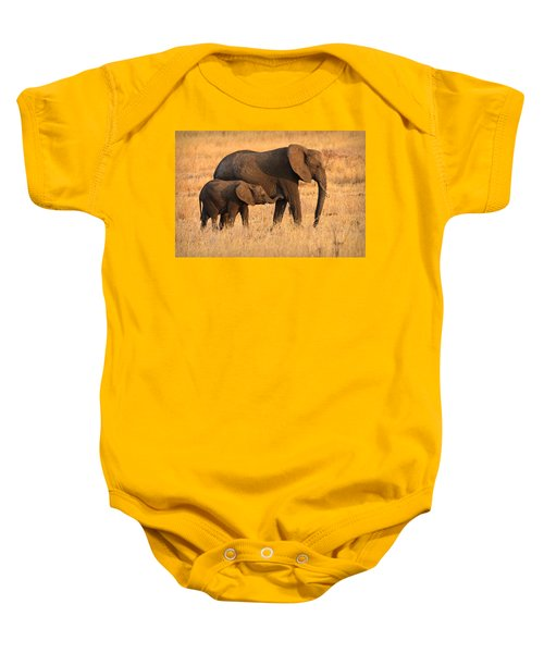 Mother And Baby Elephants Baby Onesie