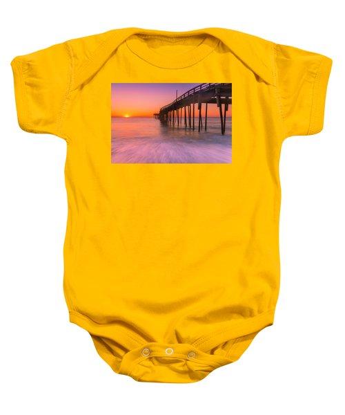 Nags Head Avon Fishing Pier At Sunrise Baby Onesie