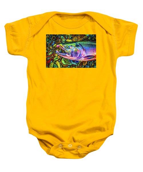 Neon Coho  Baby Onesie