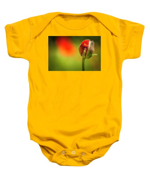 New Orange Poppy Bloom Baby Onesie