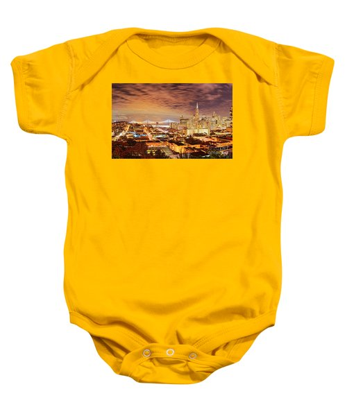 Night Panorama Of San Francisco And Oak Area Bridge From Ina Coolbrith Park - California Baby Onesie