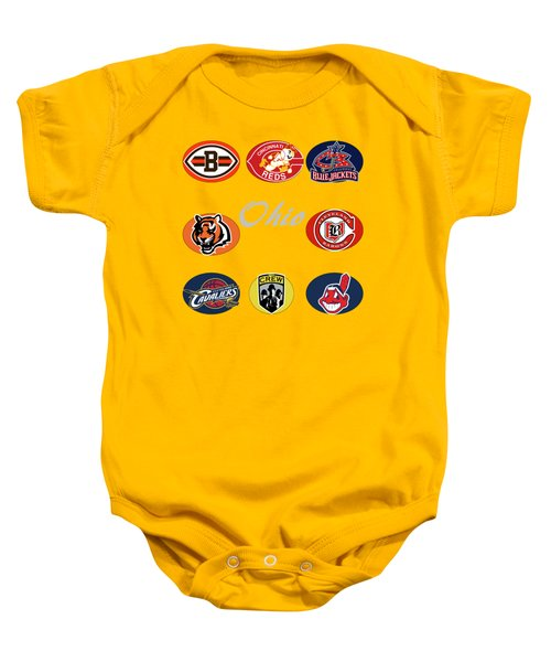 Ohio Professional Sport Teams Collage Baby Onesie by Movie Poster Prints