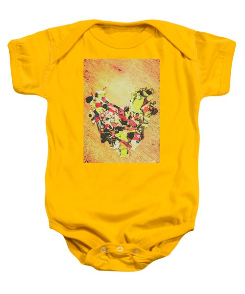 Old Threads And Hearts Baby Onesie