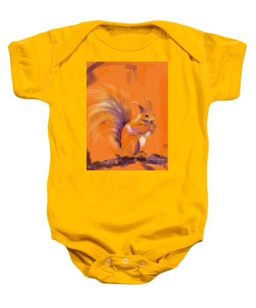 Orange Forest Squirrel Baby Onesie