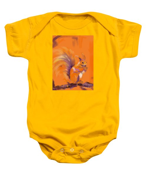 Baby Onesie featuring the painting Orange Forest Squirrel by Go Van Kampen