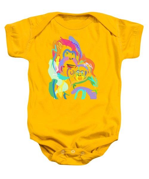 Baby Onesie featuring the painting Orangutan Mom And Baby by Go Van Kampen