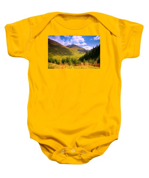 Peaceful Sunny Day In Mountains. Rest And Be Thankful. Scotland Baby Onesie