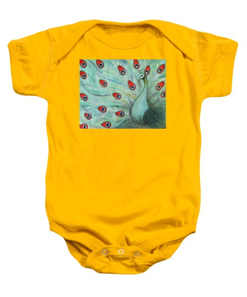 a49181ddb Baby Onesie featuring the painting Peacock Glory by Gigi Housand