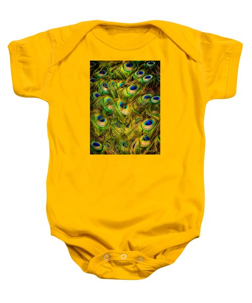 Baby Onesie featuring the photograph Peacock Tails by Rikk Flohr