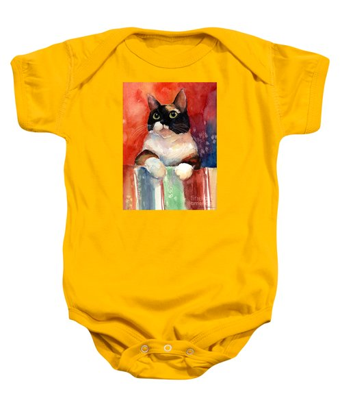 Pensive Calico Tubby Cat Watercolor Painting Baby Onesie