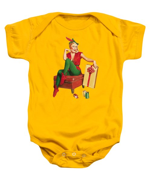 Pin-up Sexy Elf Woman With Gift Baby Onesie