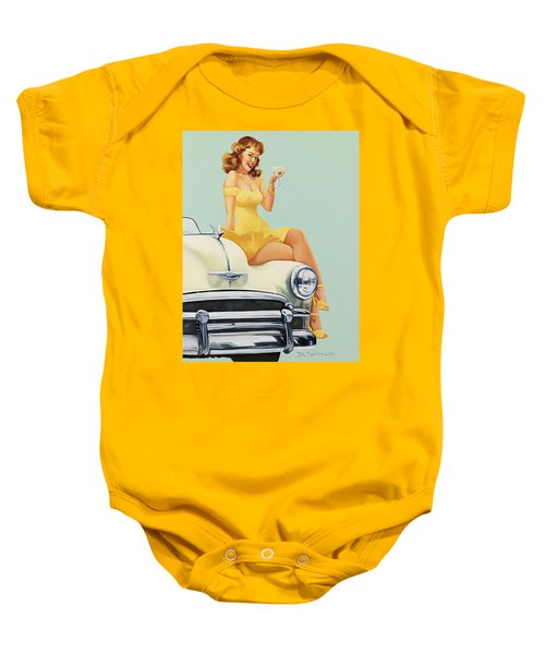 Pin Up Woman With Champagne Glass On Classic Car Baby Onesie