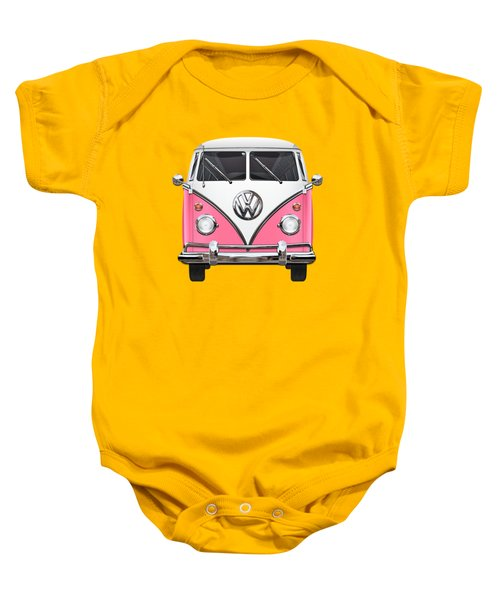 Pink And White Volkswagen T 1 Samba Bus On Yellow Baby Onesie by Serge Averbukh