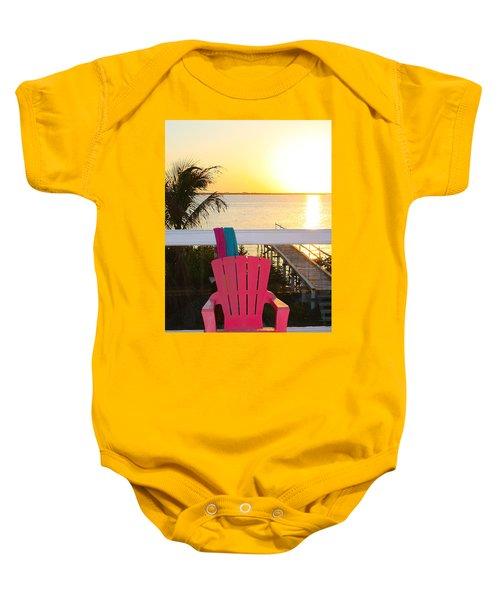 Pink Chair In The Keys Baby Onesie
