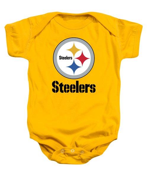 Pittsburgh Steelers On An Abraded Steel Texture Baby Onesie
