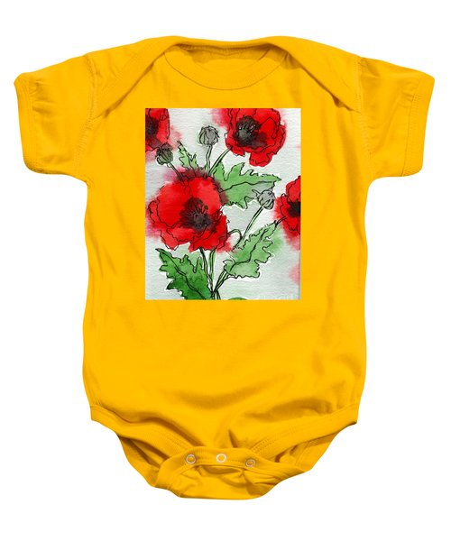 Watercolor Poppies Baby Onesie