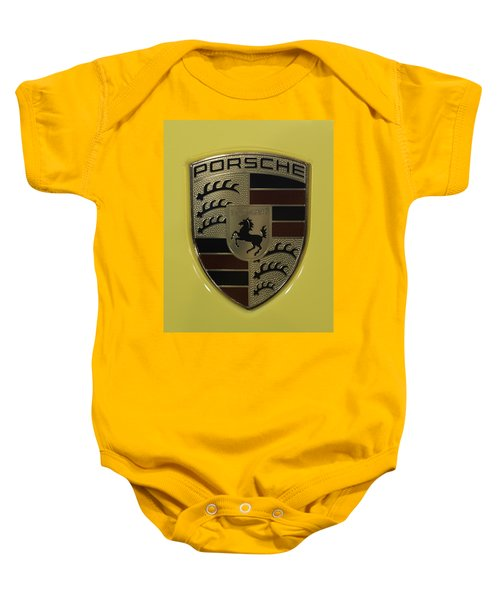 Porsche Emblem On Racing Yellow Baby Onesie by Sebastian Musial