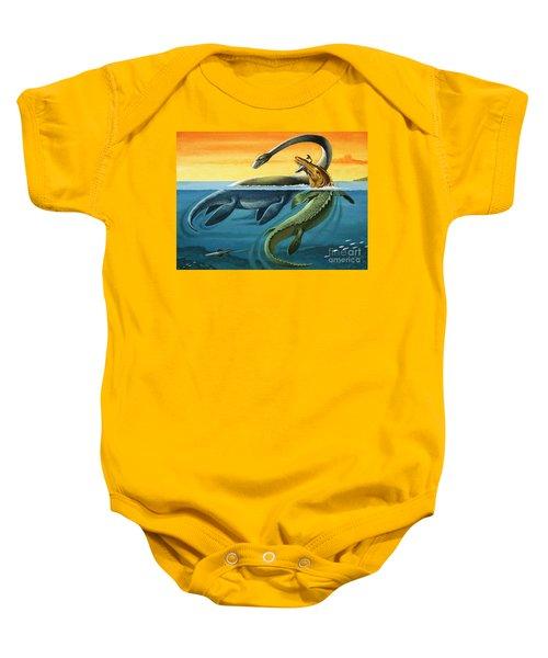 Prehistoric Creatures In The Ocean Baby Onesie by English School