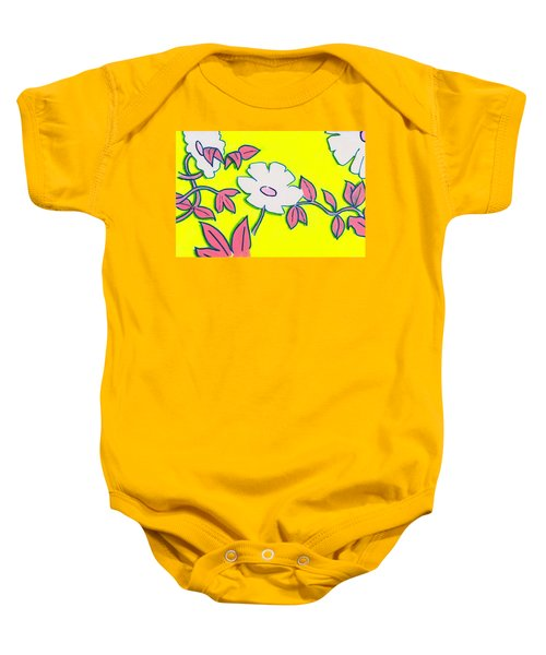 Purple Pointed Petals And Bright White Flowers Against Yellow Baby Onesie