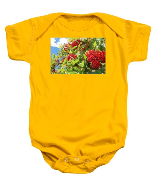 Red Berries, Blue Skies Baby Onesie