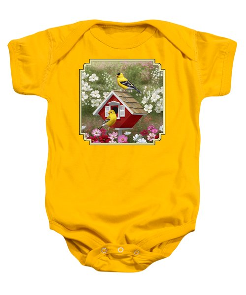 Red Birdhouse And Goldfinches Baby Onesie