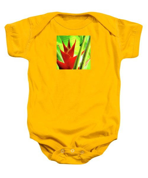 Red Heliconia Plant Baby Onesie