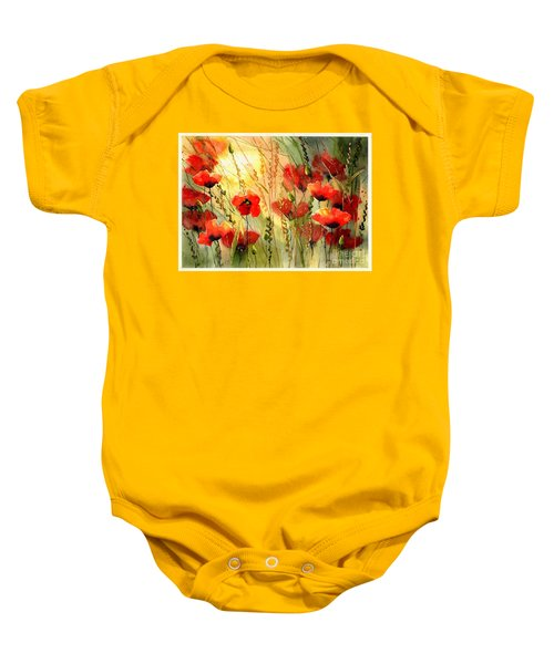 Red Poppies Watercolor Baby Onesie