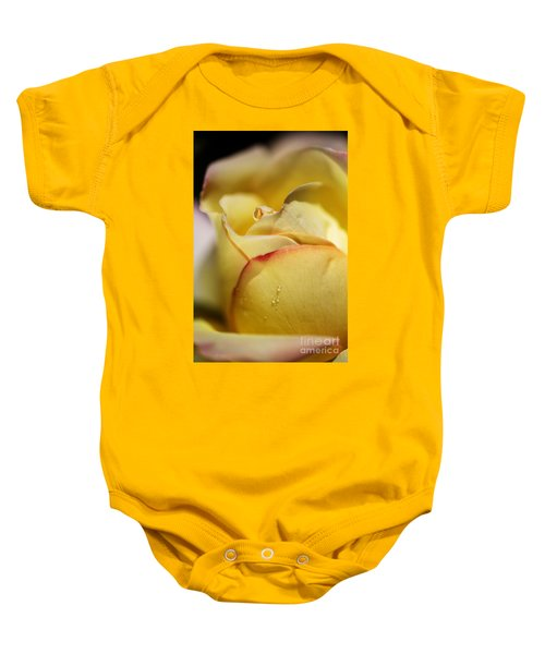 Red Tipped Yellow Rose Baby Onesie