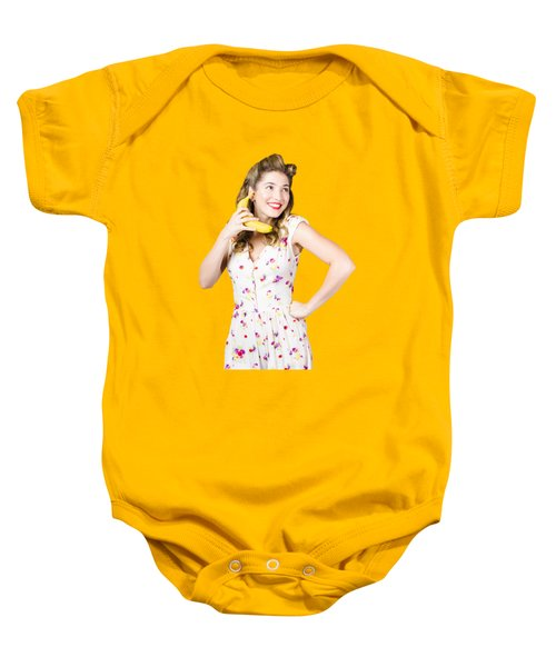 Baby Onesie featuring the photograph Retro Pin Up Girl Chatting On Banana Telephone by Jorgo Photography - Wall Art Gallery