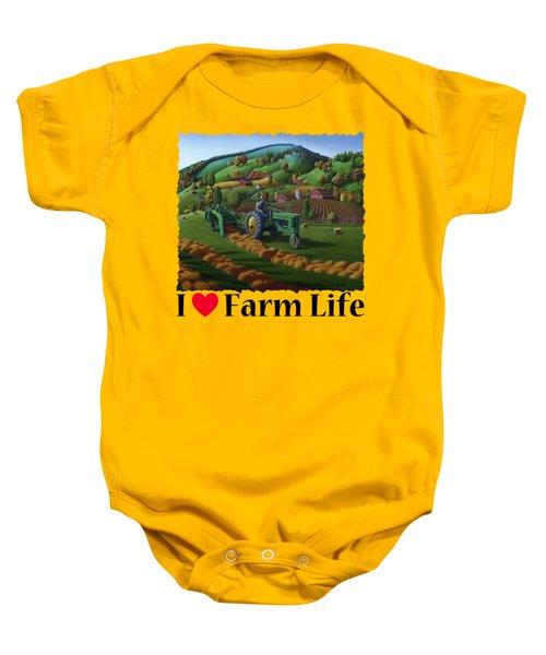 Rustic John Deere Farm Tractor Baling Hay - Rural Country Folk Art Landscape - Summer Americana Baby Onesie
