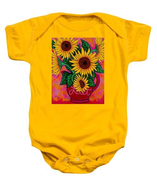 Saturday Morning Sunflowers Baby Onesie