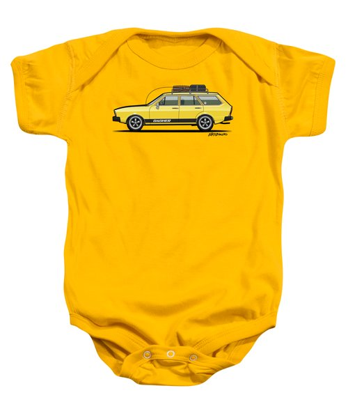 Saturn Yellow Volkswagen Dasher Wagon Baby Onesie