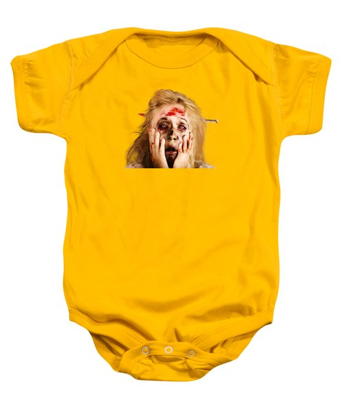 Scared Halloween Monster With Nail Through Head Baby Onesie