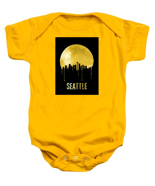 Seattle Skyline Yellow Baby Onesie by Naxart Studio