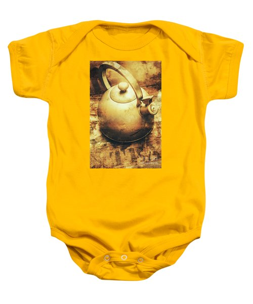 Sepia Toned Old Vintage Domed Kettle Baby Onesie